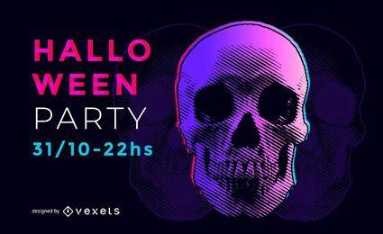 Flyer psicodélico de la fiesta de Halloween