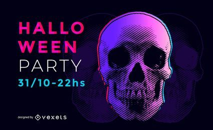 Psychedelischer Halloween-Party-Flyer