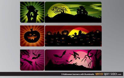 3 Banners de Halloween com miniaturas