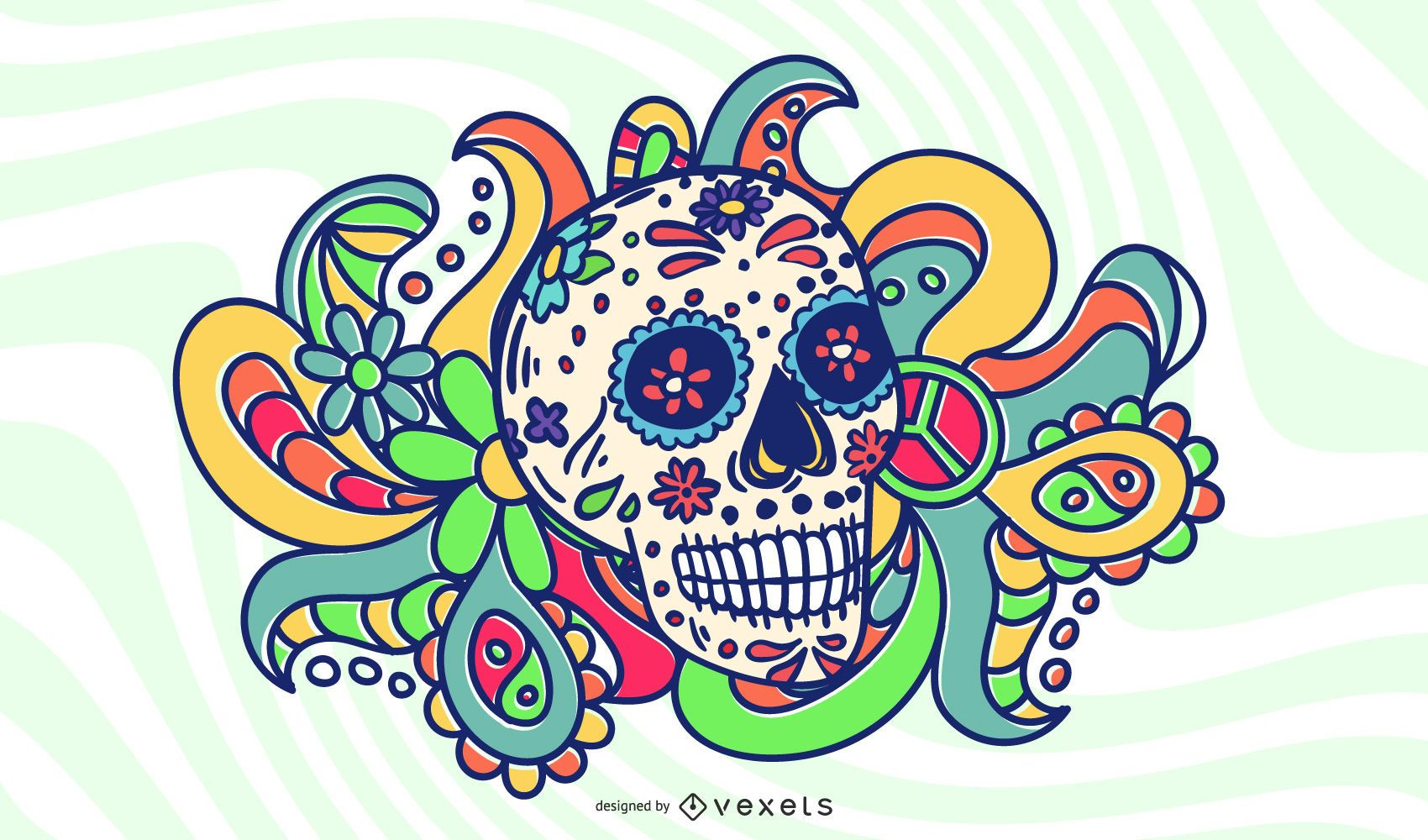 Ornaments with Psychedelic Skulls