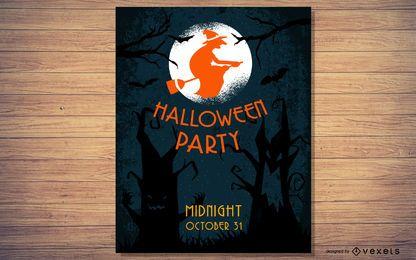 Panfleto de festa de Halloween de árvore