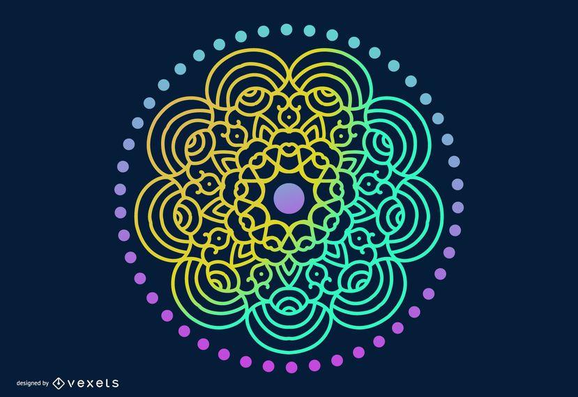 Ornamento de estilo azteca psicodélico