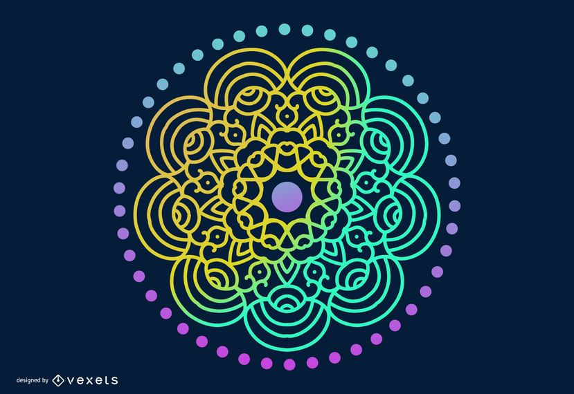 Psychedelic Aztec Style Mandala Vector