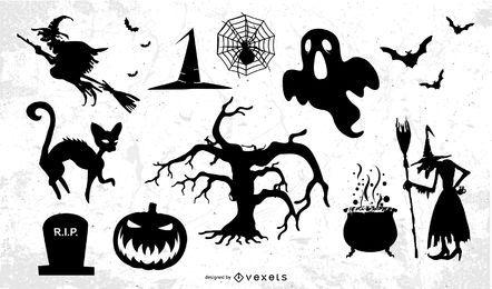 Conjunto de objetos de Halloween funky