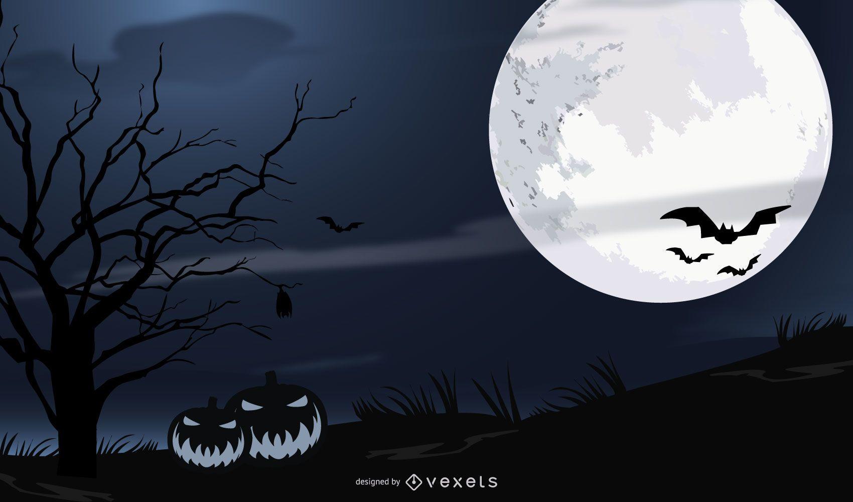 Scary Halloween Night Layout