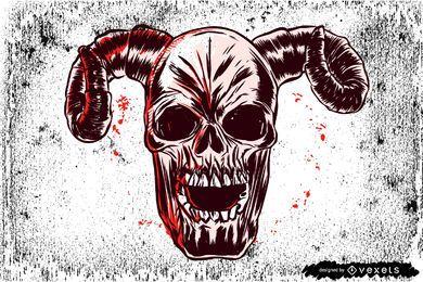 Cráneo sucio artístico del horror