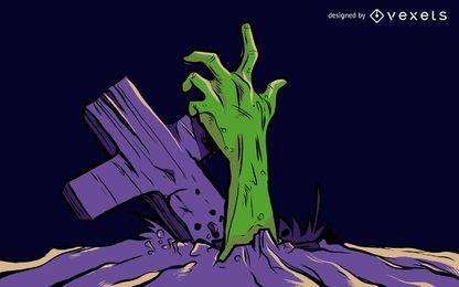 Zombie kommt aus dem Boden
