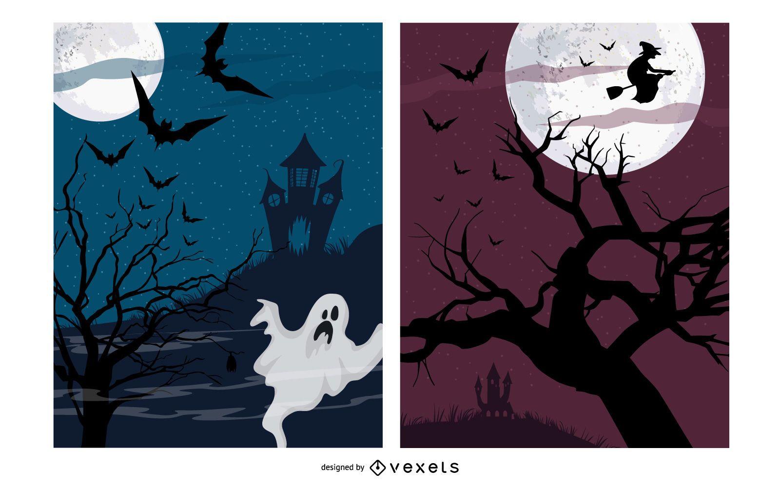 Paquete de carteles de la noche de Halloween