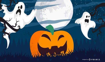 Calabaza de Halloween con el cielo claro de luna