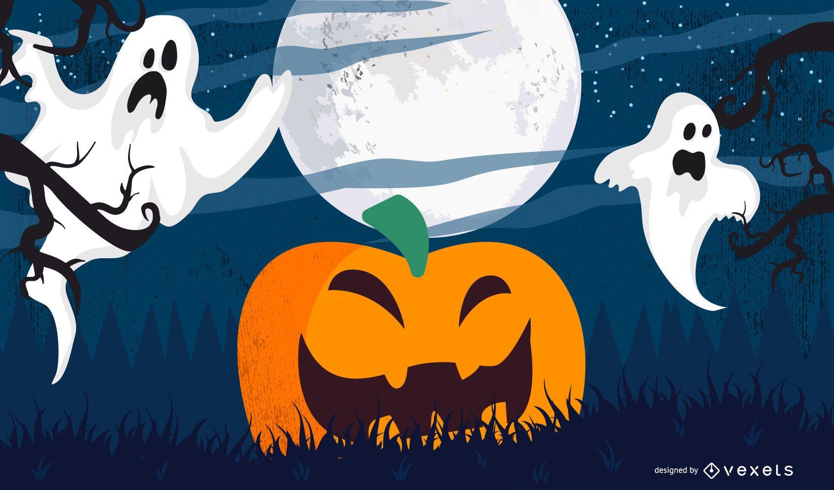Calabaza de Halloween con cielo claro de luna
