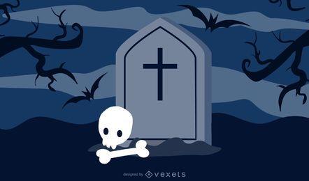Tumba en el tema de Halloween con calavera