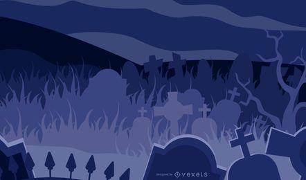 Cementerio temático de Halloween de terror