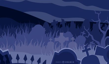 Horror Halloween Theme Graveyard