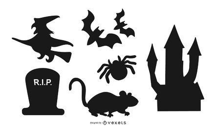 Pacote de coisas de halloween silhueta