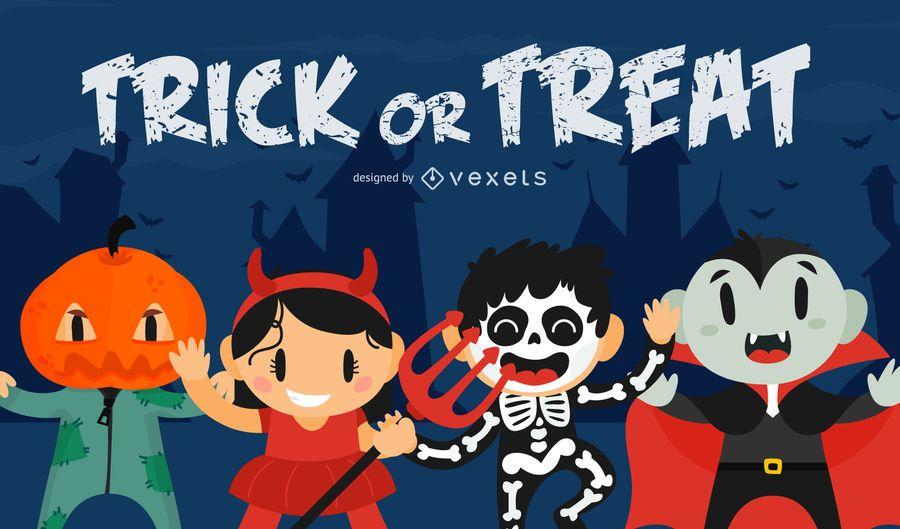Arte de Halloween de truco o trato