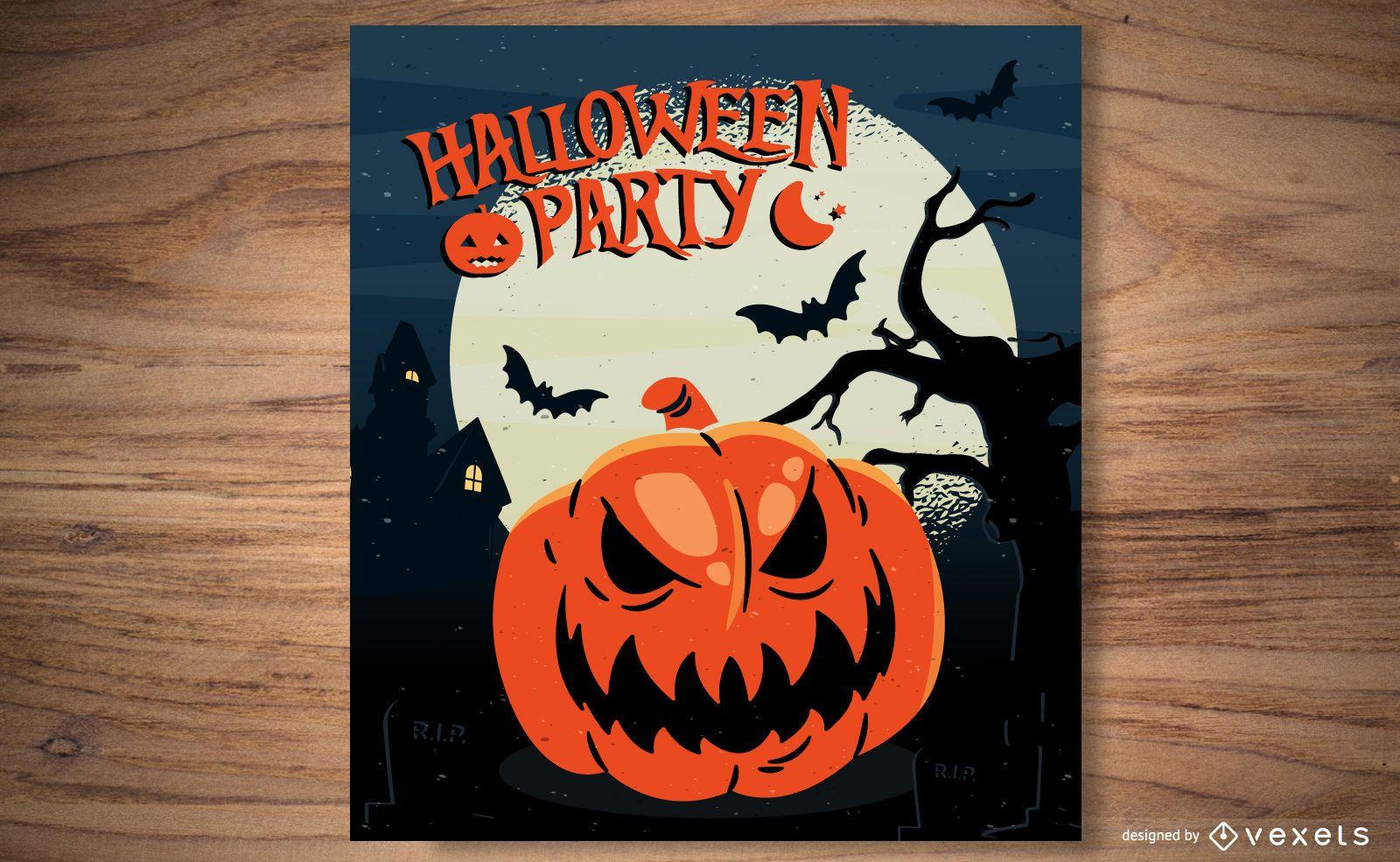 Folleto de plantilla de calabaza de Halloween