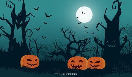 Árvore de Halloween com abóboras