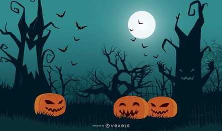 Halloween-Baum mit Kürbissen