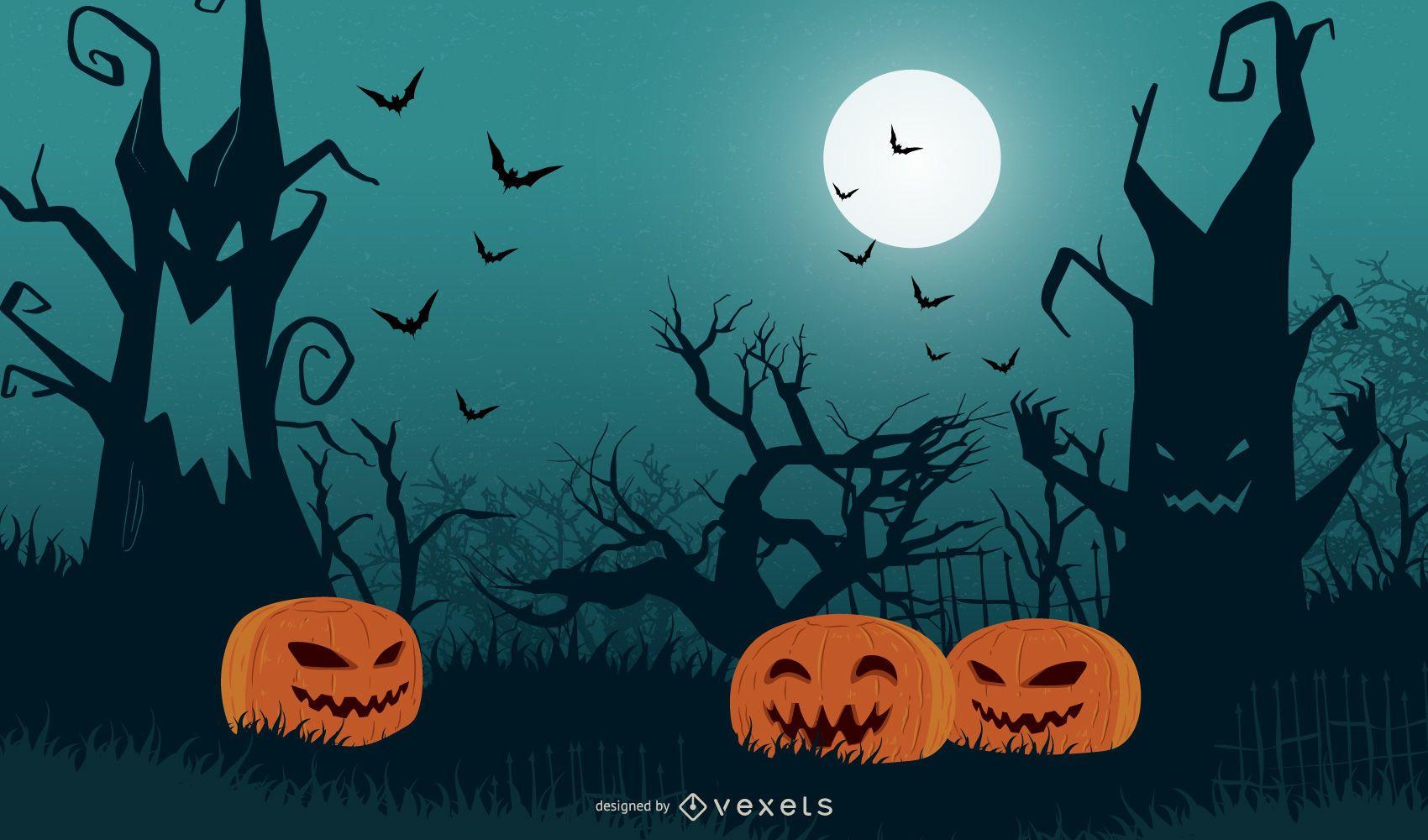 Árbol de Halloween con calabazas