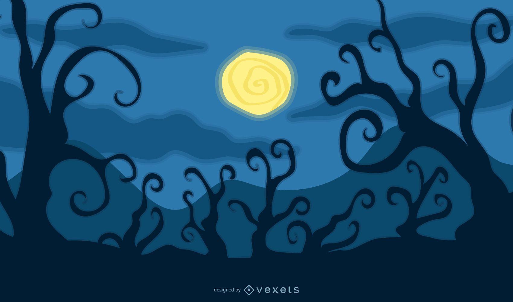 Arte assustadora de Halloween com árvores assustadoras