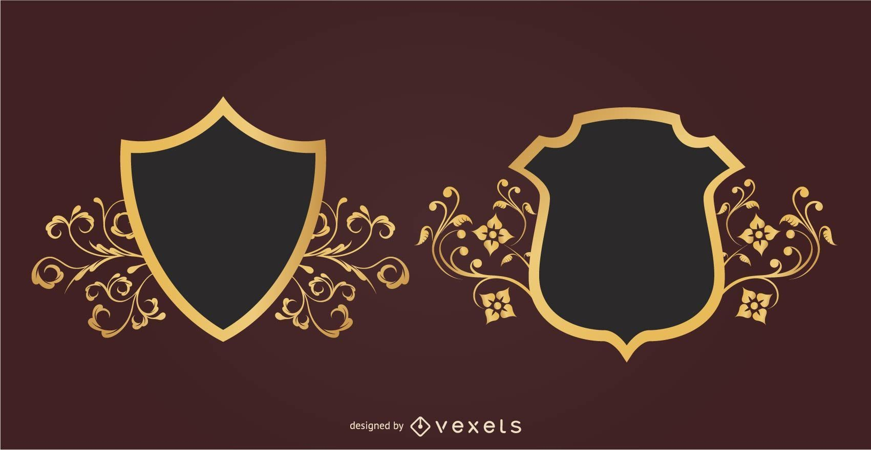 2 Floral Decorative Heraldic Shields