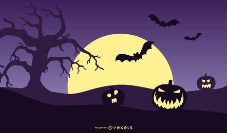 Cartaz da noite de Halloween da abóbora