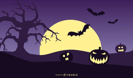 Cartel de la noche de Halloween de calabaza