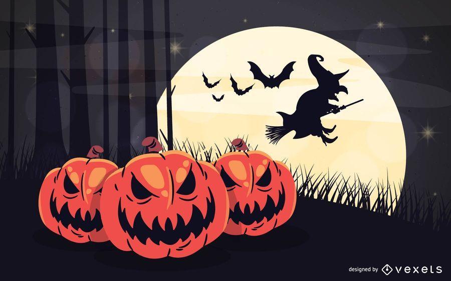 Arte de Halloween con calabazas malvadas plantadas