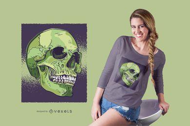 Diseño de camiseta de cráneo realista.