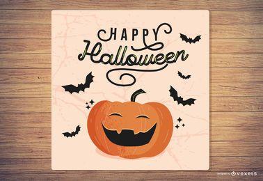 Halloween-Flyer mit Kürbis und Fledermaus 2