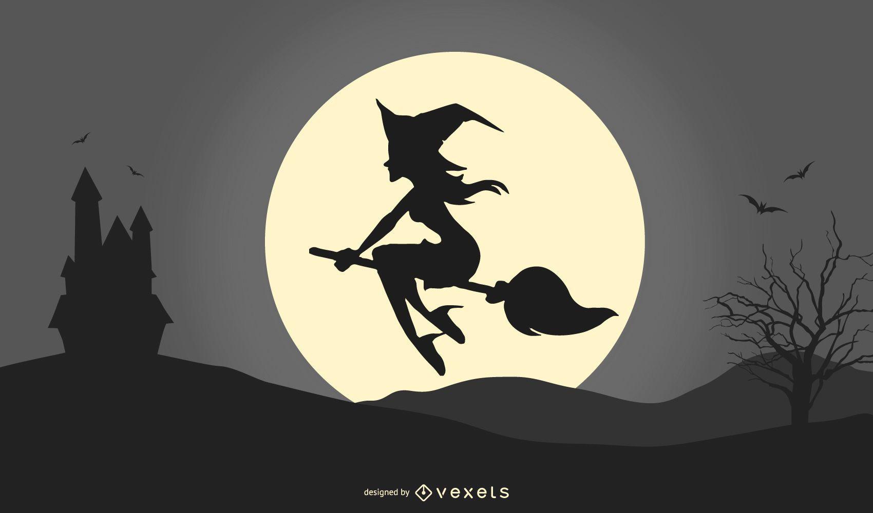 Ilustração da silhueta da bruxa do Halloween