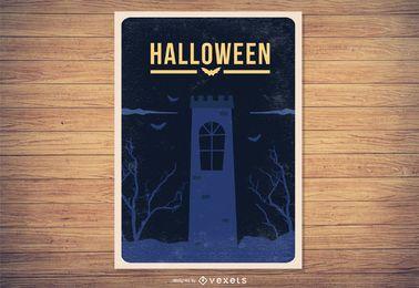 Cartel sucio de Halloween del vintage