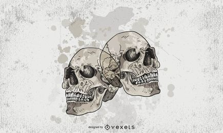 Emblema de Halloween de crânios sujos
