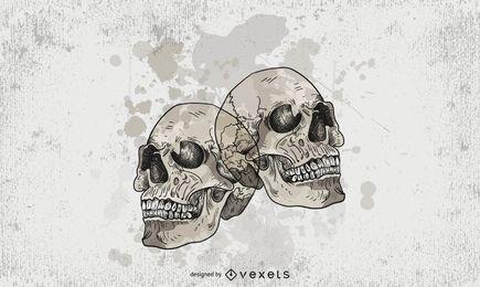 Emblema de Halloween Grungy Skulls