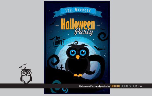 Cartaz da coruja do partido do Dia das Bruxas