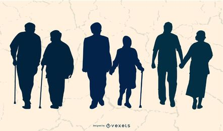 Grownup Aged People Set Silhouette