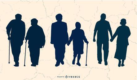 Silhueta de pessoas adultas envelhecidas