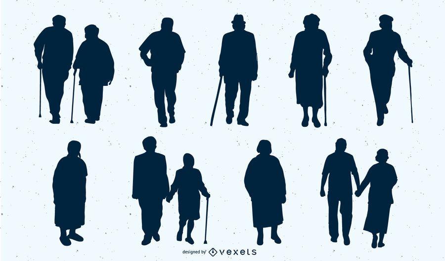 Conjunto de personas de edad adulta silueta