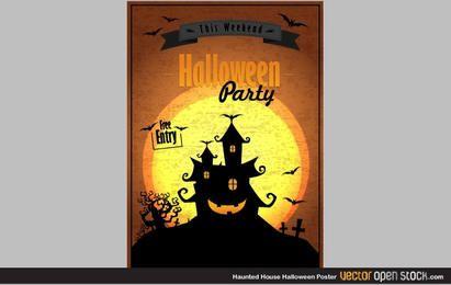Pôster de Halloween de casa mal-assombrada