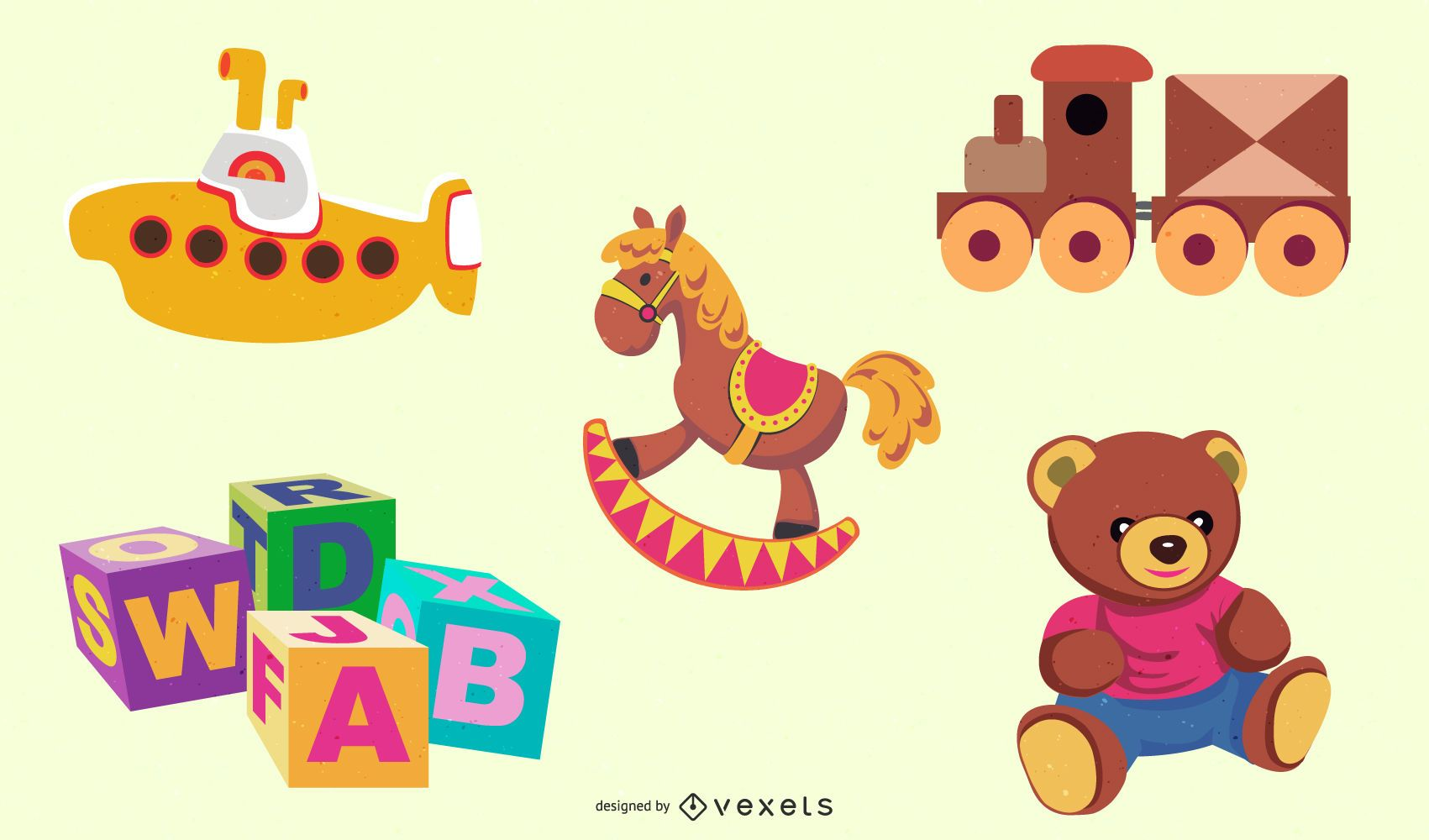 Lindo paquete de iconos de juguetes para bebés
