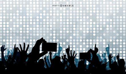 Concierto multitudes levantando manos silueta