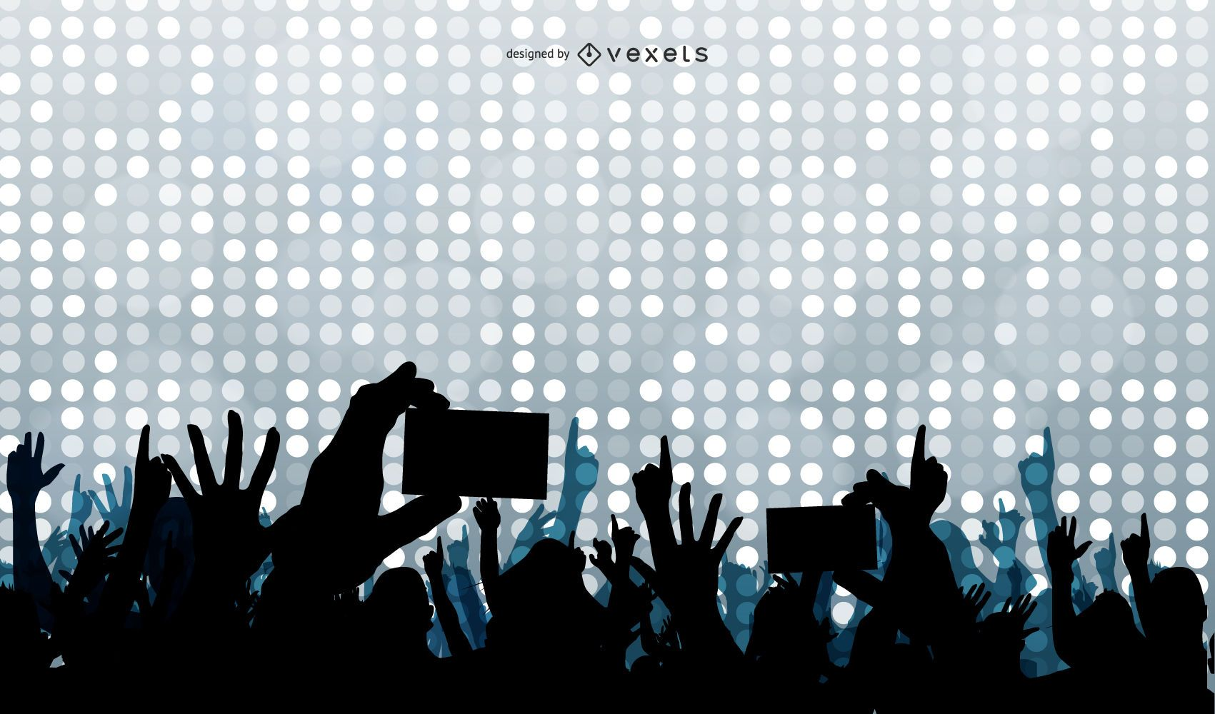 Concert Crowds Raising Hands Silhouette