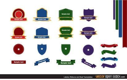 Fitas de etiquetas e pacote de selos