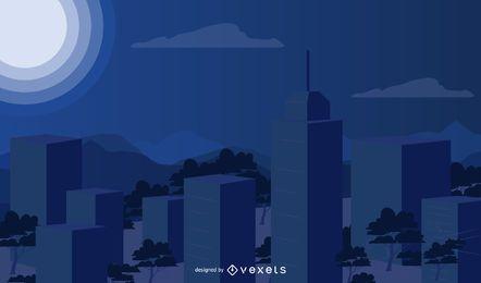 Ciudad de luz de luna de gran altura