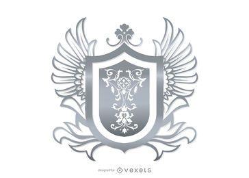 Escudo heráldico ornamental cinza
