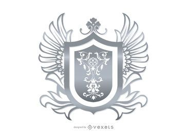 Gray Ornamental Heraldic Shield