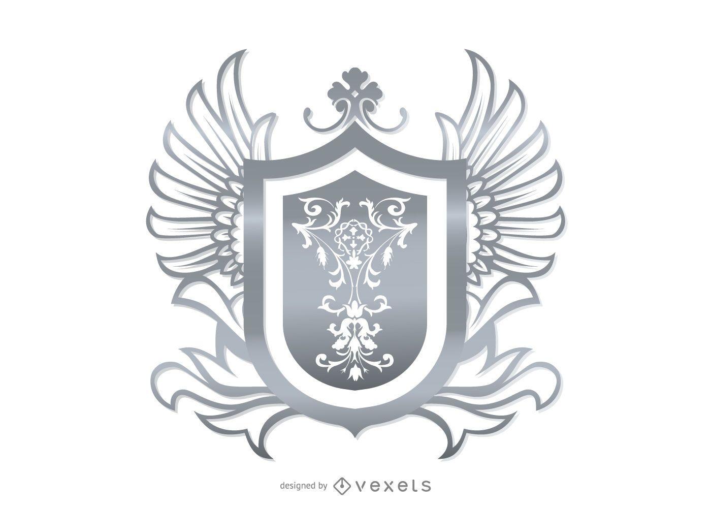 Escudo heráldico ornamental gris