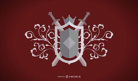 Escudo de armas heráldico gris