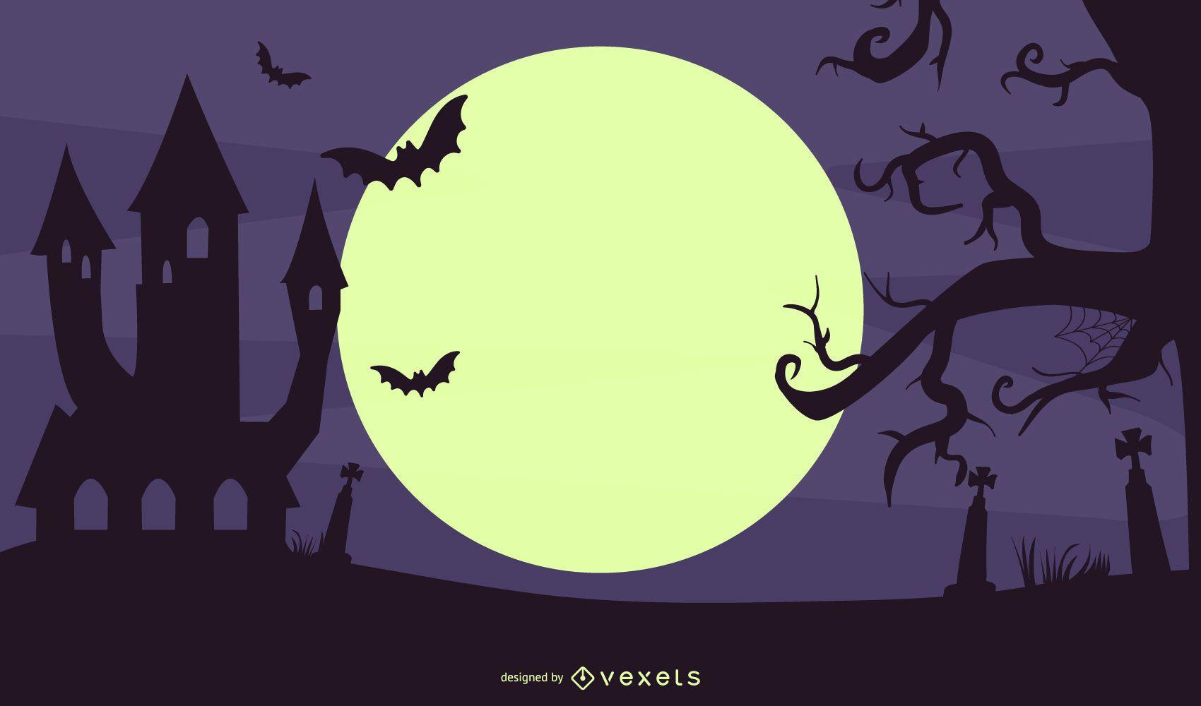Ilustración espeluznante de la noche de Halloween