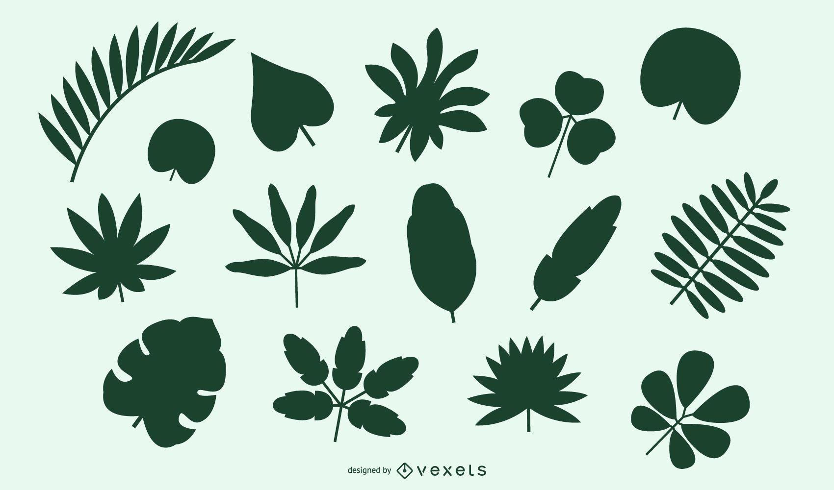 Paquete de hojas y arbustos naturales